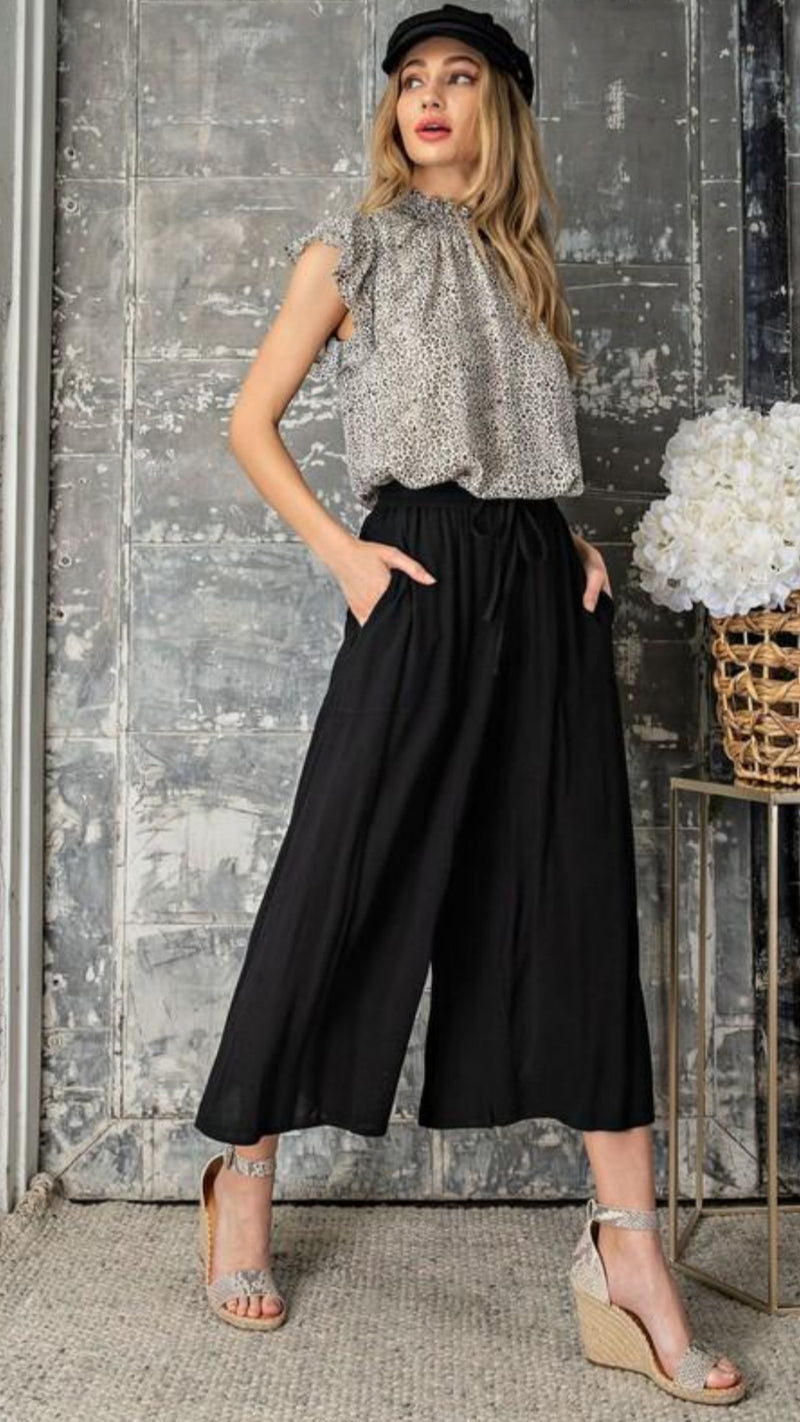 Midi Wide Leg Pants - Black.