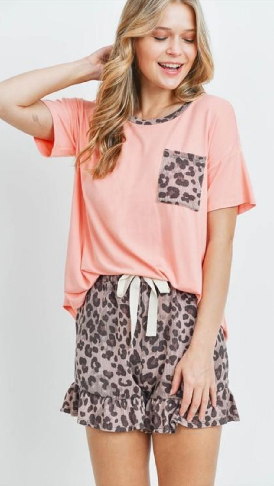 Peach Leopard Lounge Set.