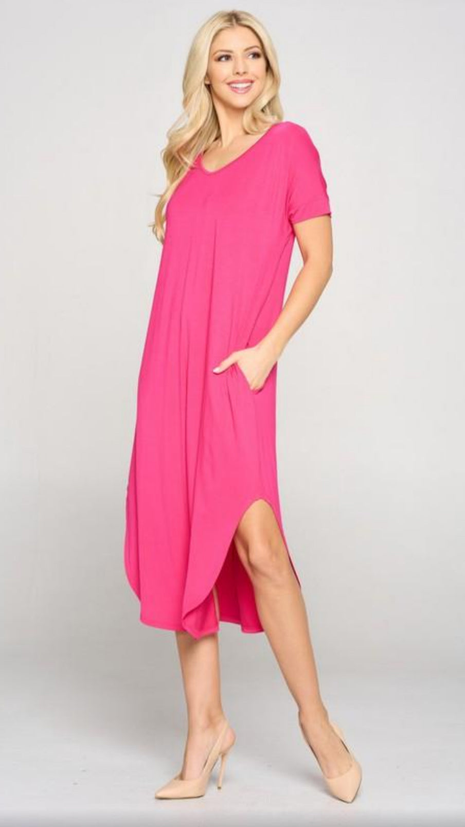 Eden Midi Dress - Fuchsia
