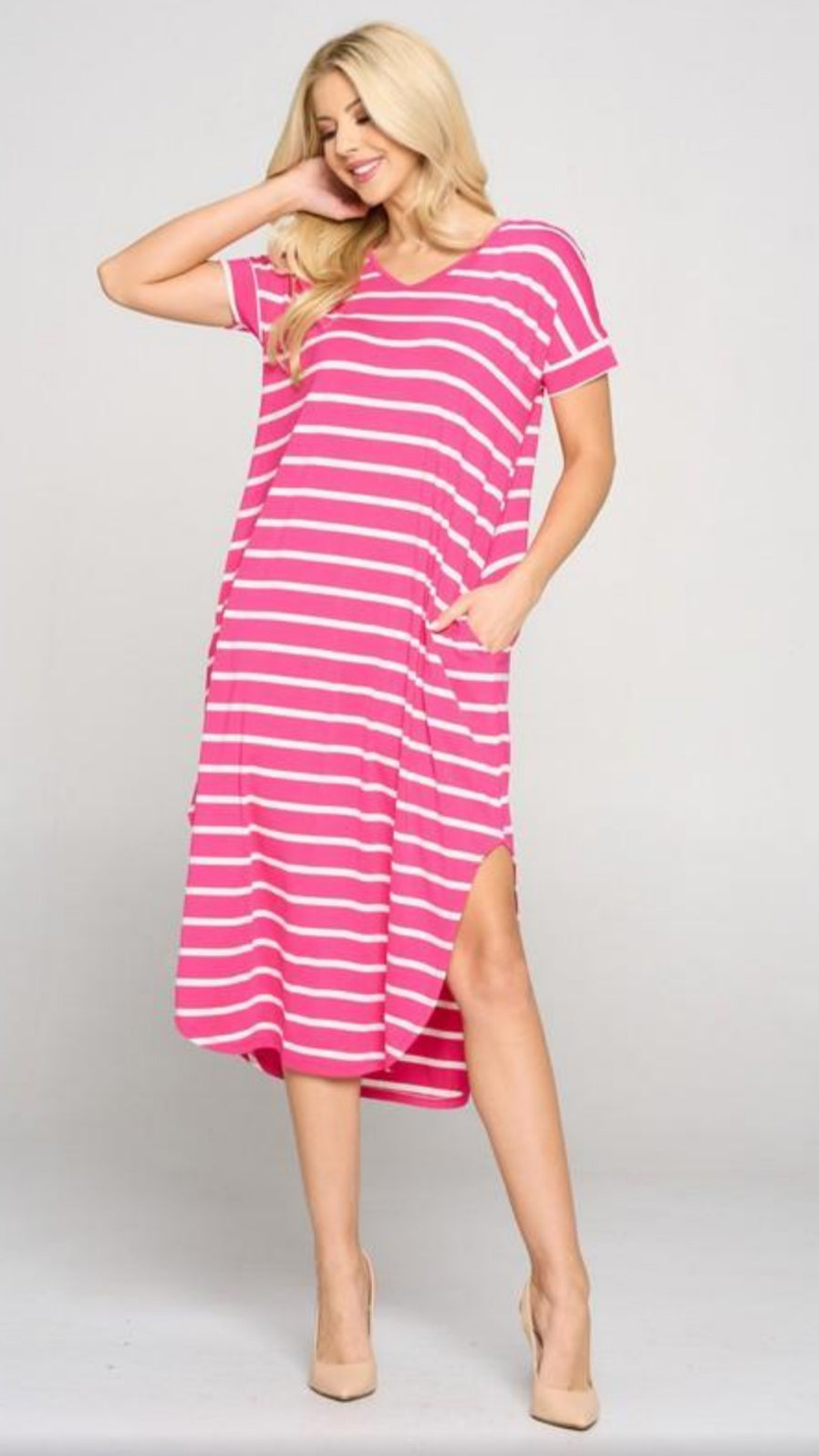 Aurora Midi Dress - Fuchsia