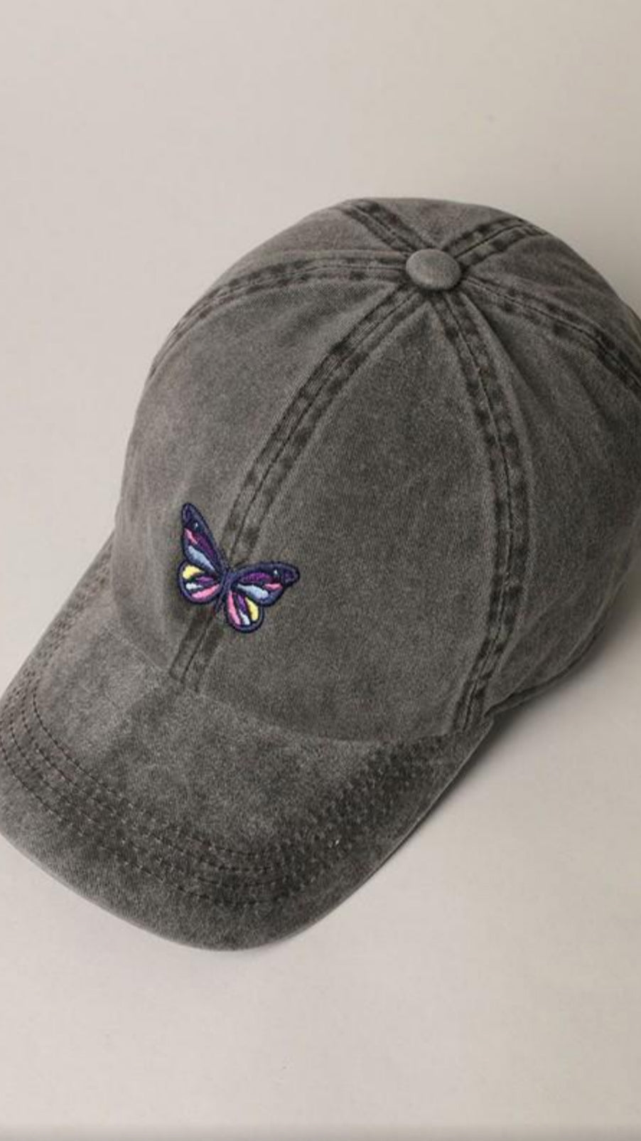 Butterfly Baseball Cap - Black