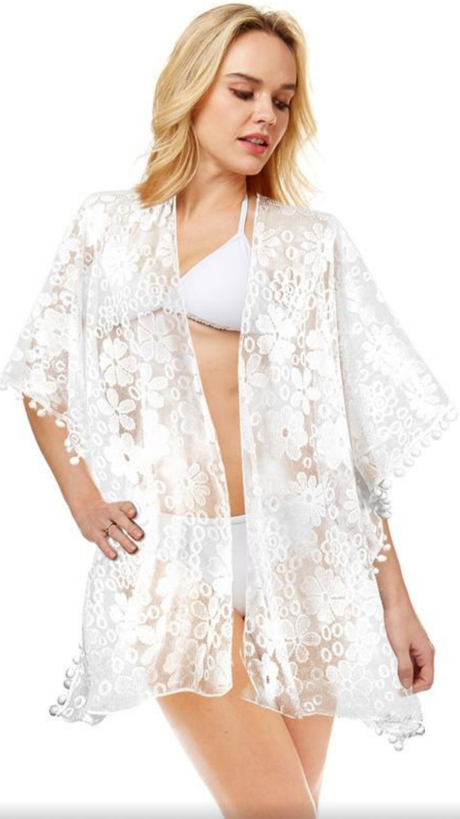 Sheer Floral Lace Cover Up - White