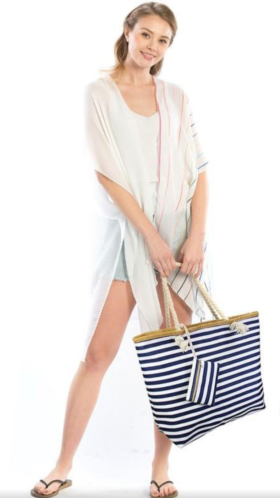 Stripe Tote Bag - Navy Blue