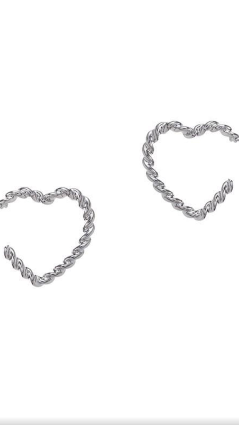 Heart Rope Earrings - Silver