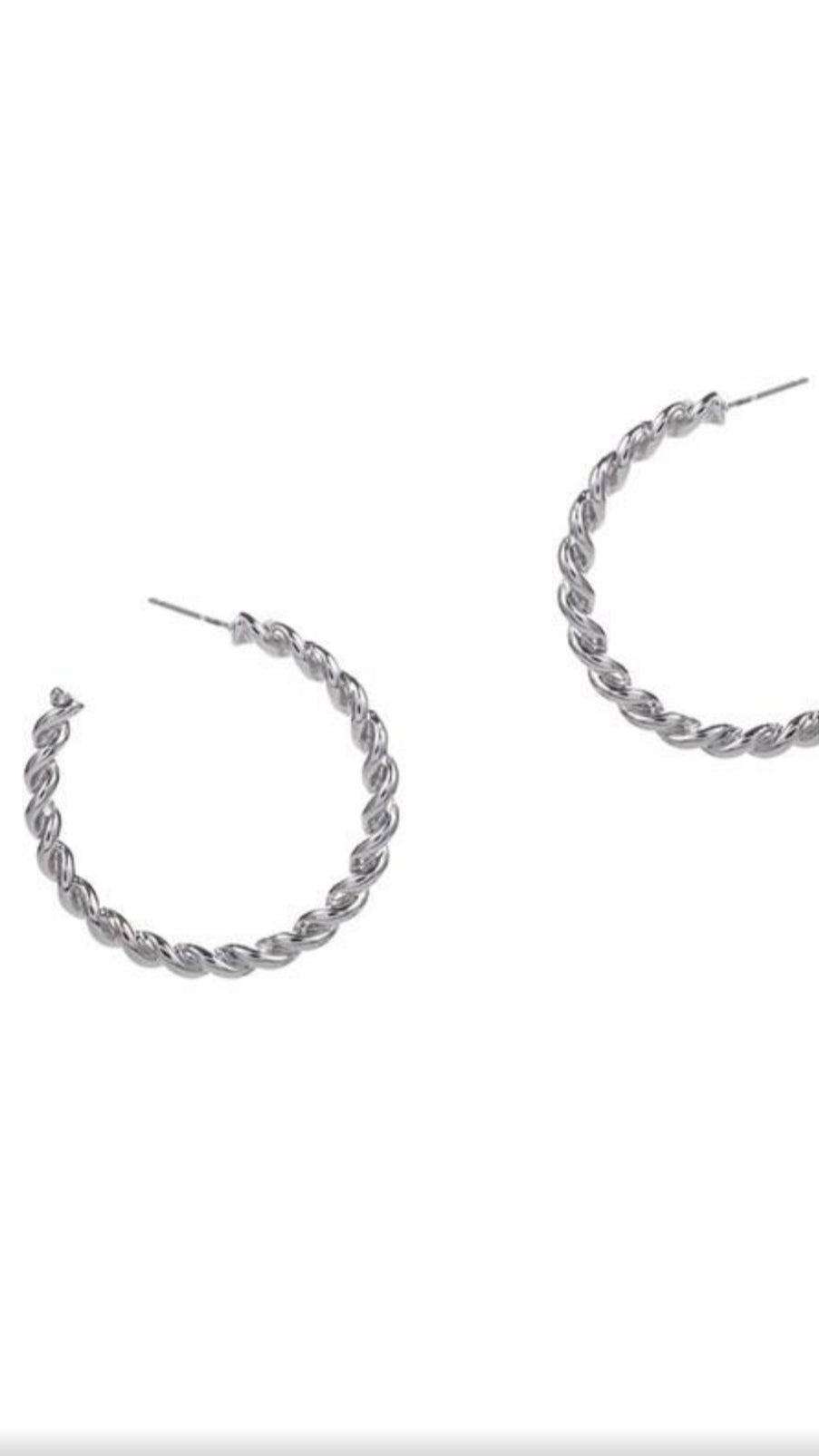 Twisted Rope Earrings - Silver