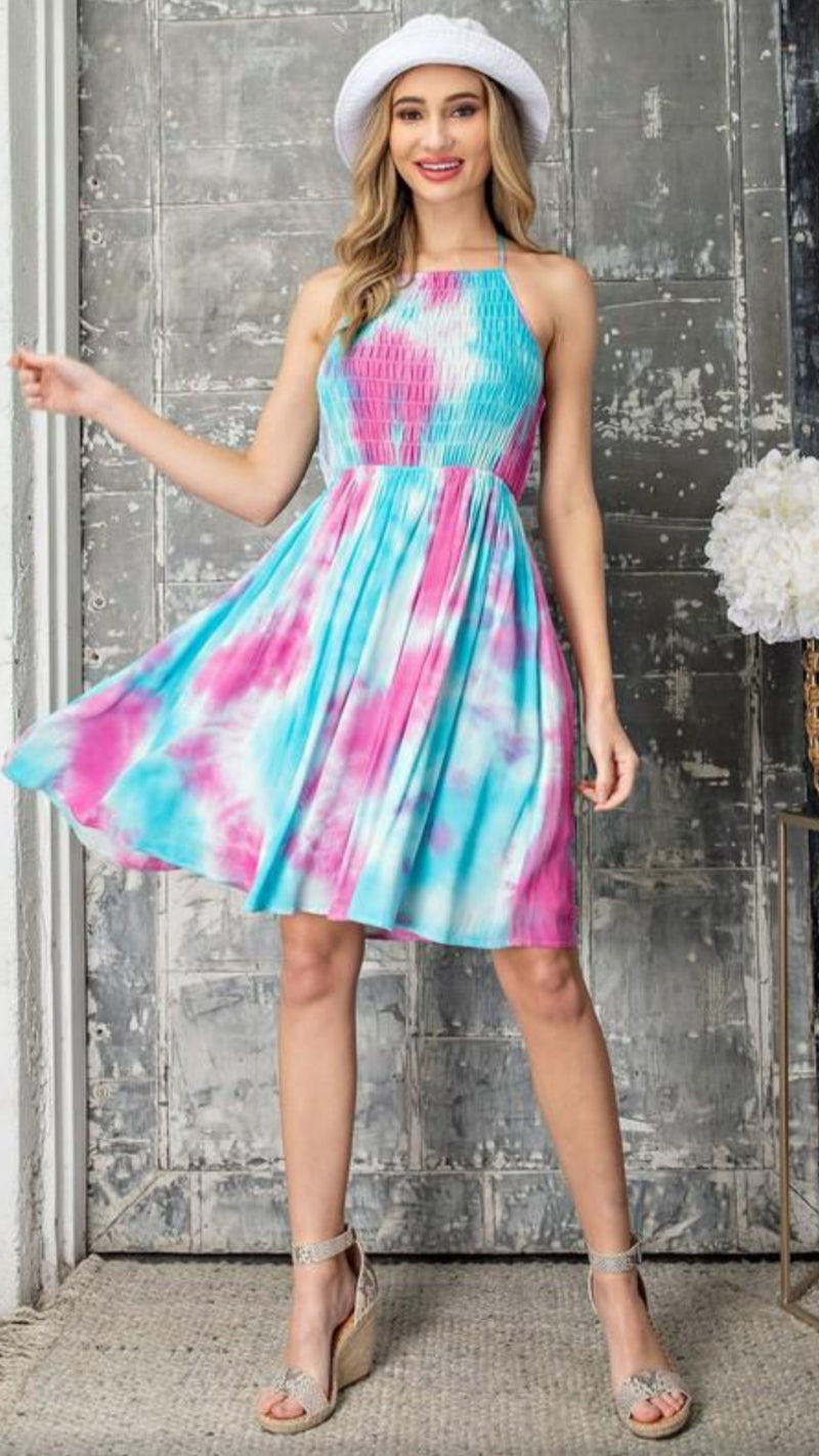 Jayla Halter Dress - Hot Pink