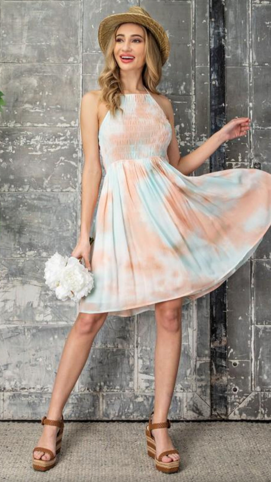 Jayla Halter Dress - Peach