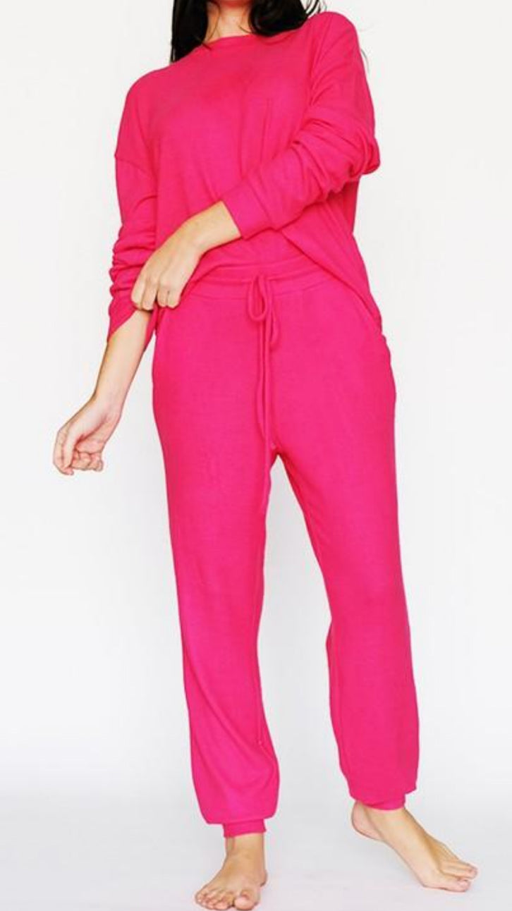 Strawberry Pink Lounge Set - Top & Joggers