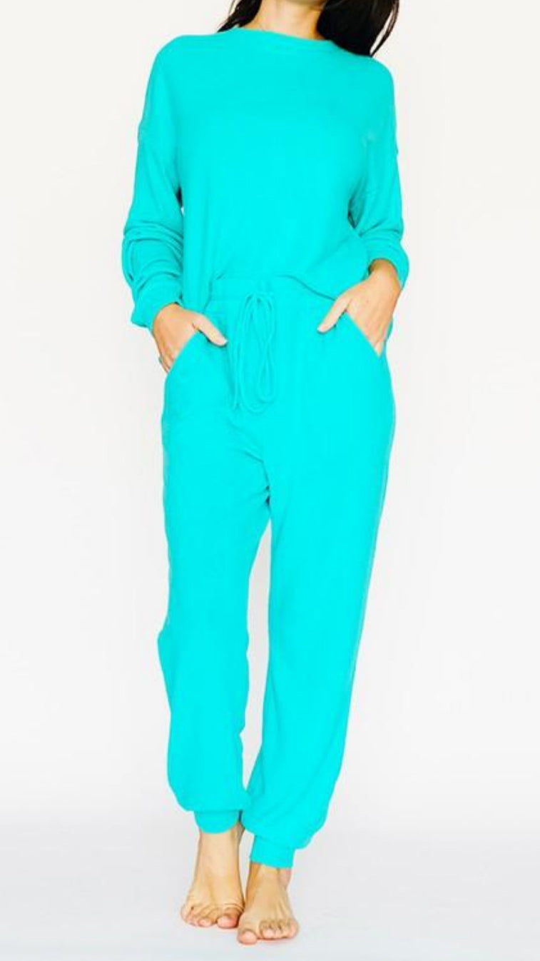 Surf Blue Lounge Set - Top & Joggers