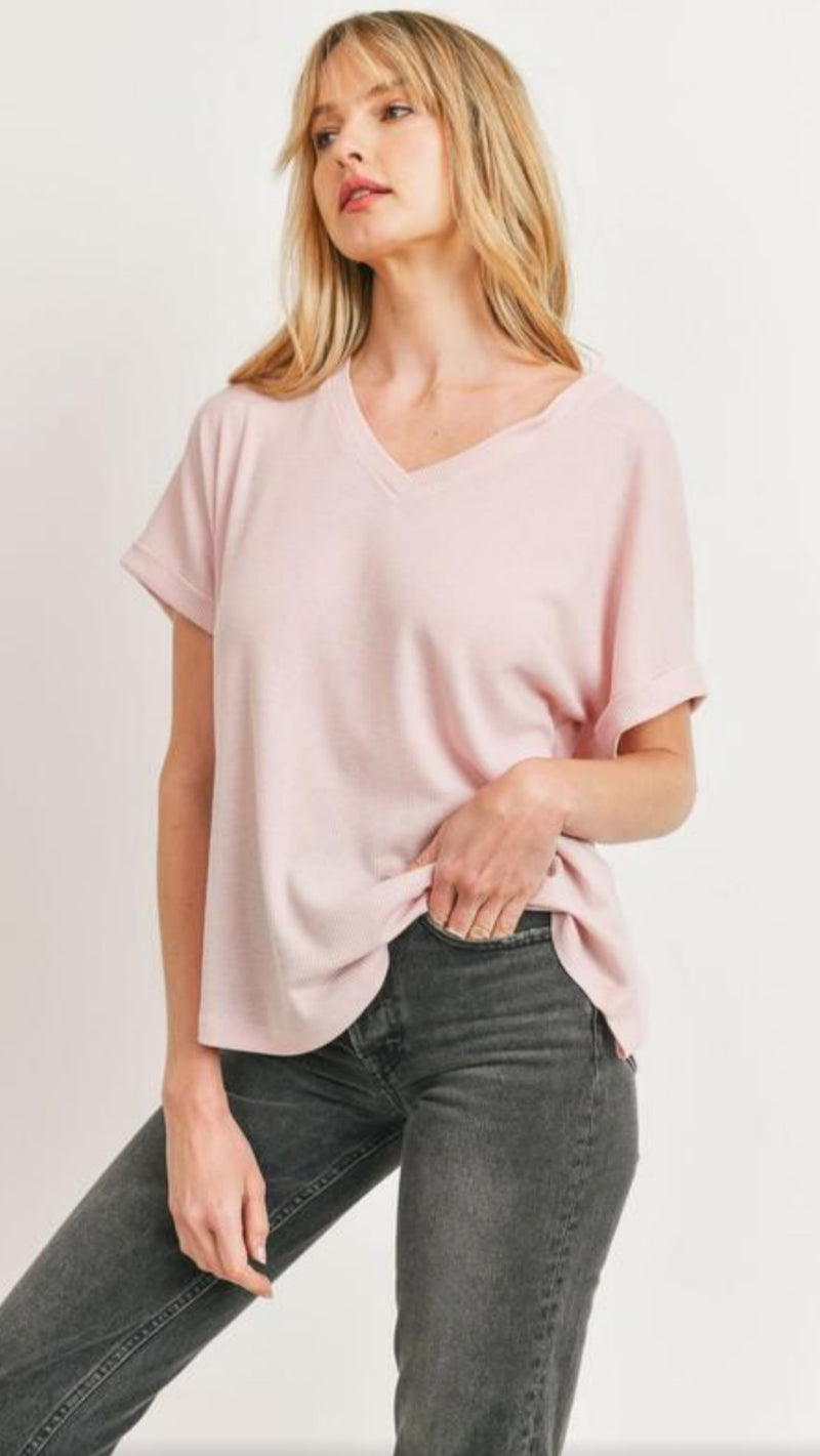 Hunter V-Neck Top - Dusty Pink