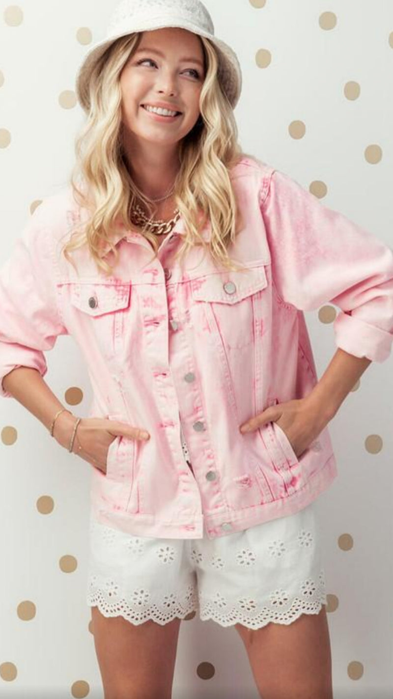 Distressed Pink Denim Jacket
