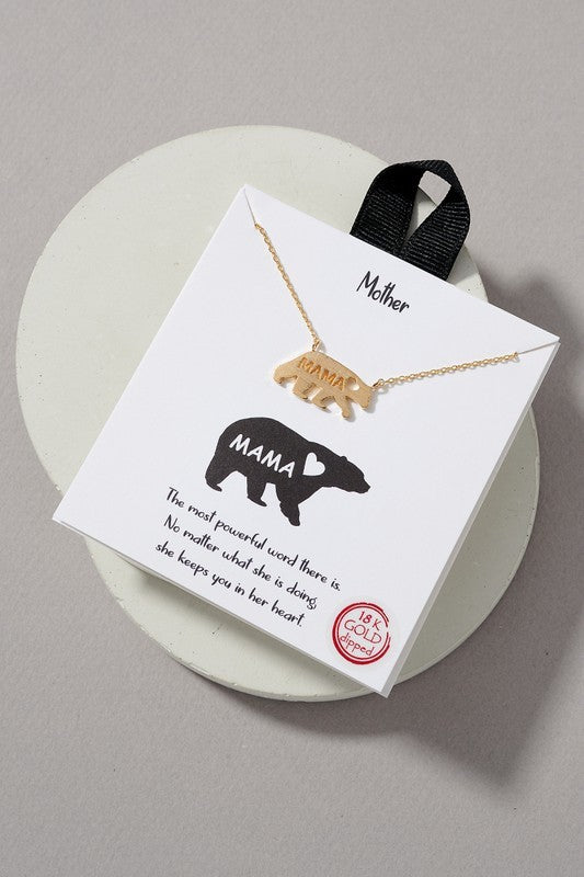 MAMA Bear Necklace - Gold - OWN YOUR ELEGANCE