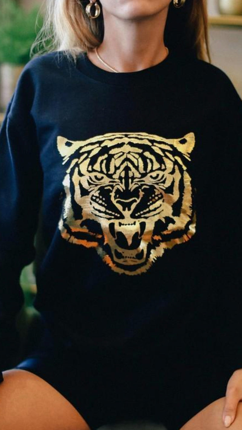 Gold Foil Tiger Sweatshirt - OWN YOUR ELEGANCE