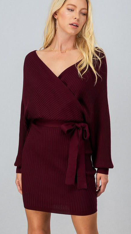 Sophiana Knit Dress - Wine - OWN YOUR ELEGANCE