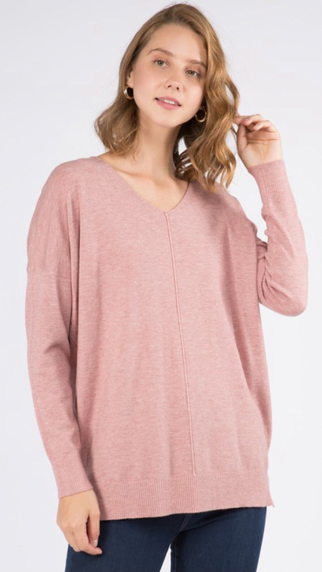 Super Soft Tunic Sweater - Pink