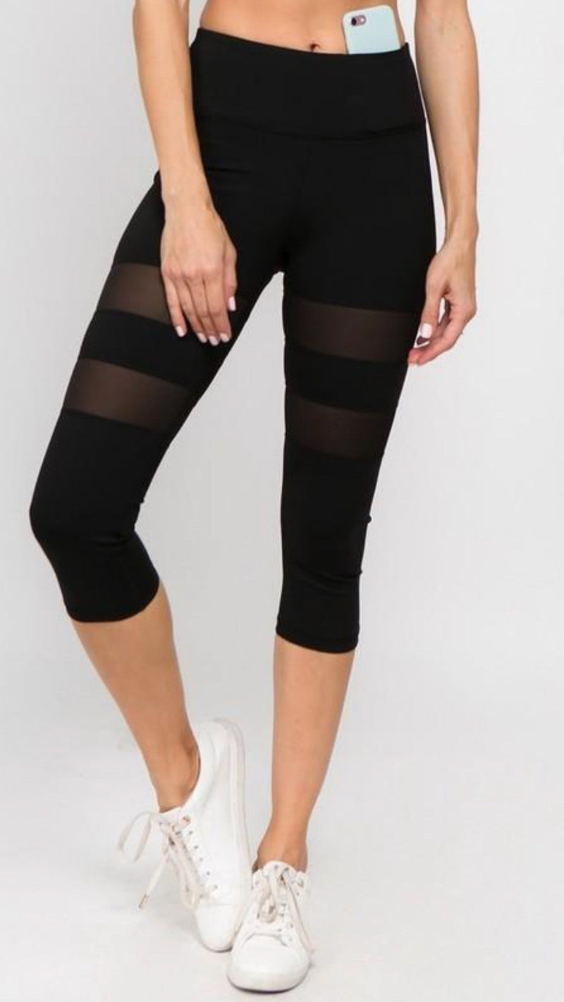 Mesh Capri Leggings - OWN YOUR ELEGANCE