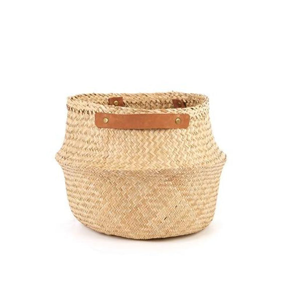 Leather Handled belly basket - Natural