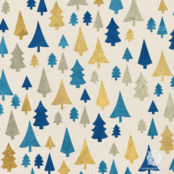 Pine Forest Christmas Stencil