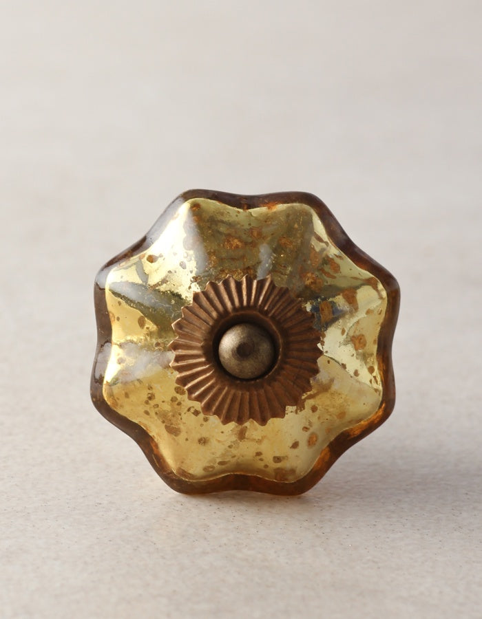 Antique Metallic Glass knobs - Gold