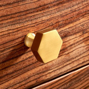 Brushed Brass Hexagonal Gold Cupboard Door Knobs
