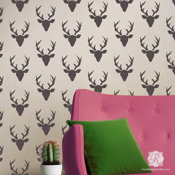 Buck Forest Wall Stencil - small