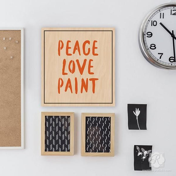 Peace, Love, Paint Lettering Stencil