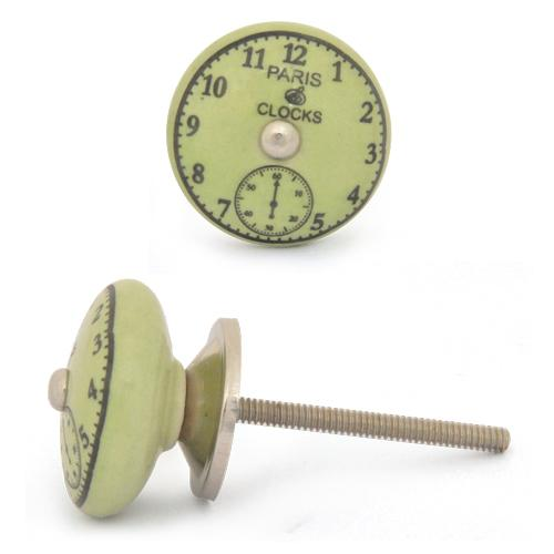 Black Clock with Lime Green Ceramic knob Silver Antique