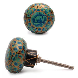 Golden, green and turquoise colour wooden knob