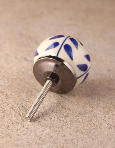 Unique Blue Floral White Ceramic Drawer Cabinet Knob - Antique Silver