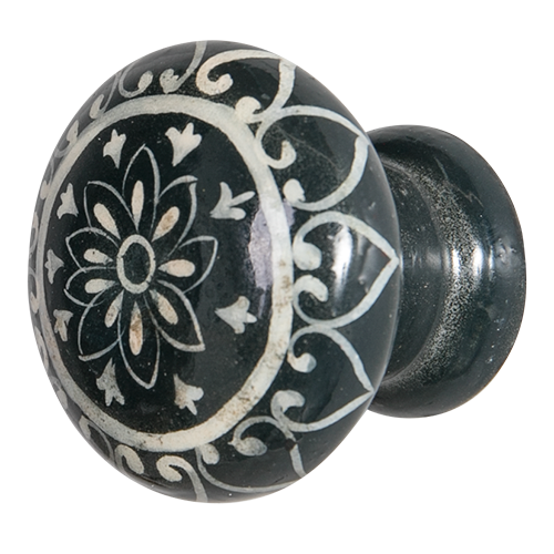 Hand Painted Wooden Door Knob - Daisy