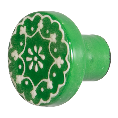 Hand Painted Wooden Door Knob - Emerald