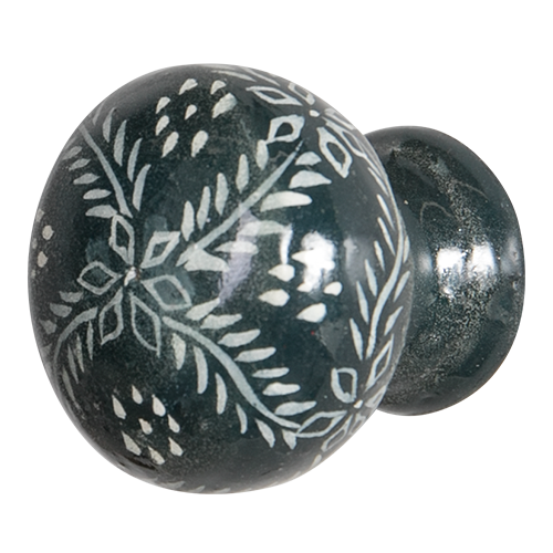 Hand Painted Wooden Door Knob - Fleur