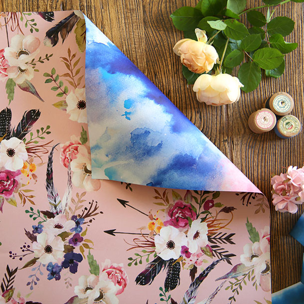 Double sided gift wrap -  Watercolour Blue/Watercolour Floral