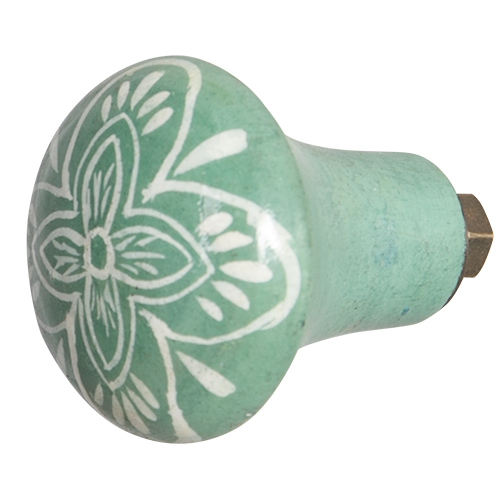 Hand Painted Wooden Door Knob - Lotus