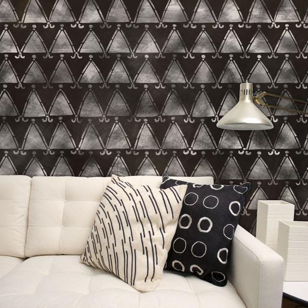 Tribal Triangles African Wall Stencil