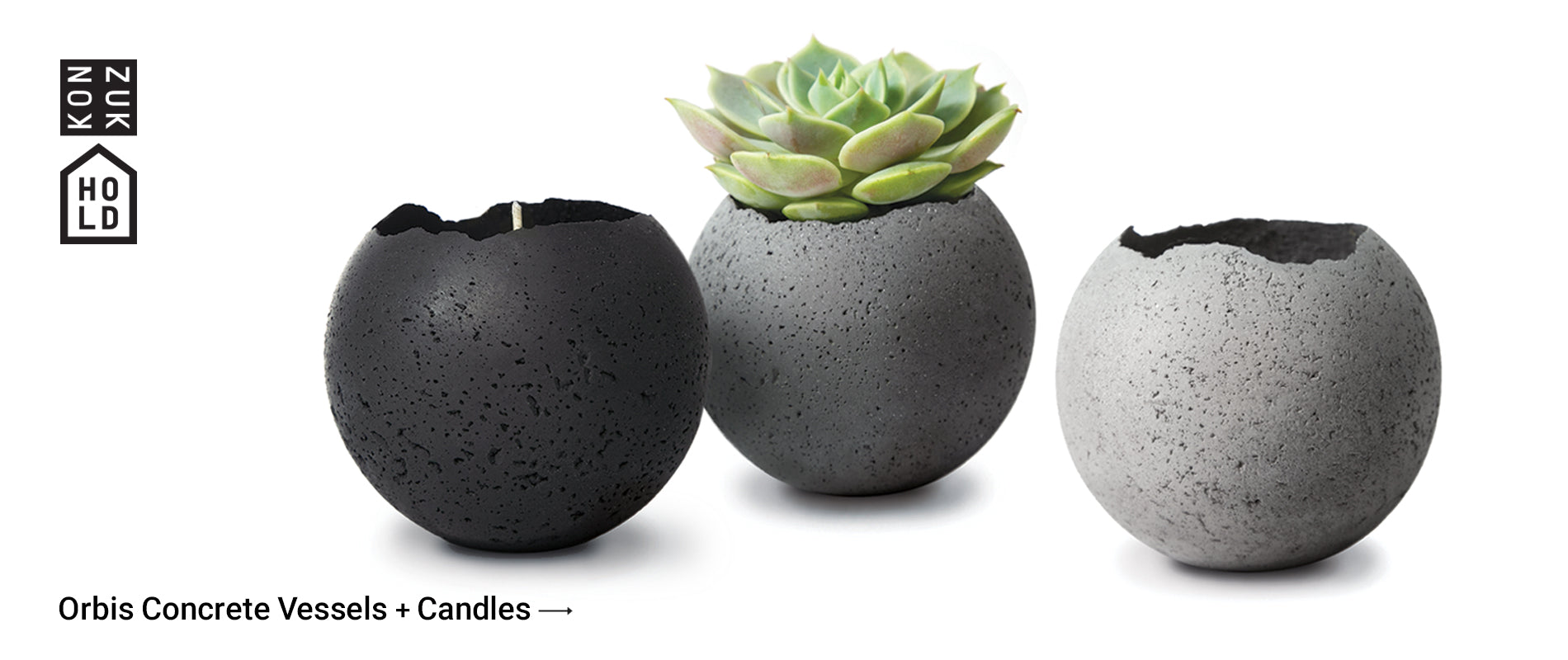 Concrete vessels and candles by KONZUK