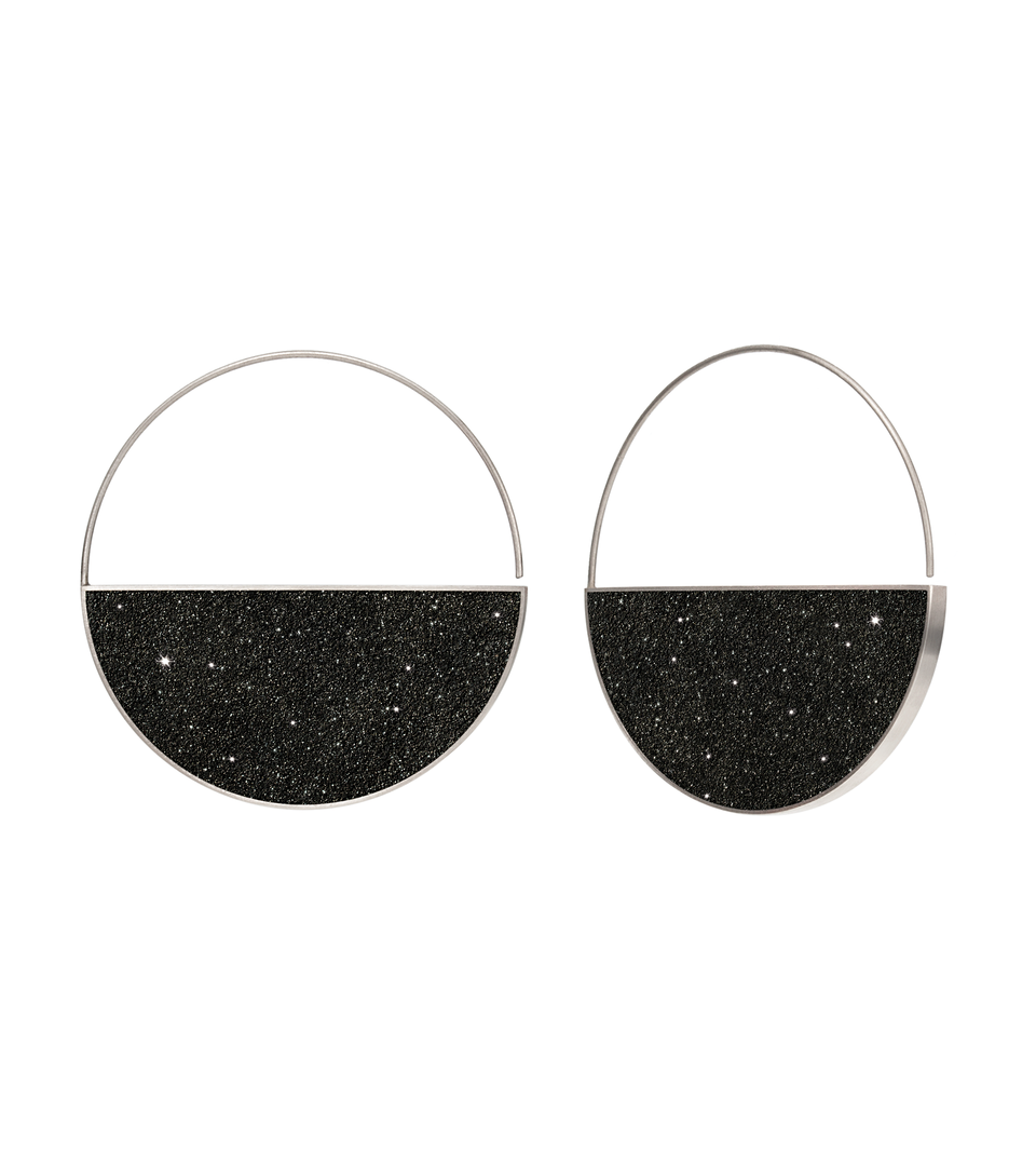 Carina Nebula diamond dust infused concrete earrings balance from stainless steel hoops.