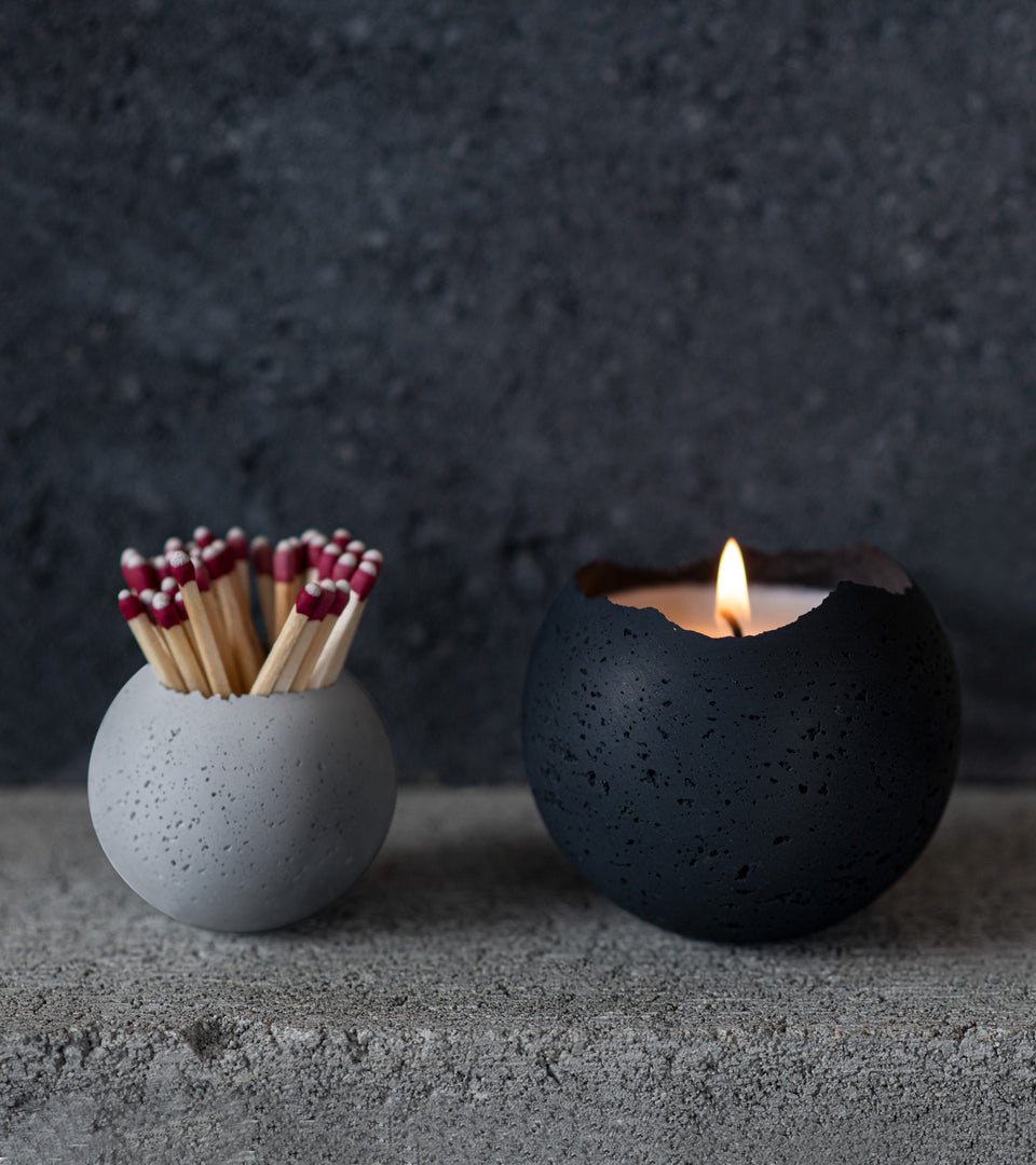 L - Orbis Concrete Candle - Coal Black
