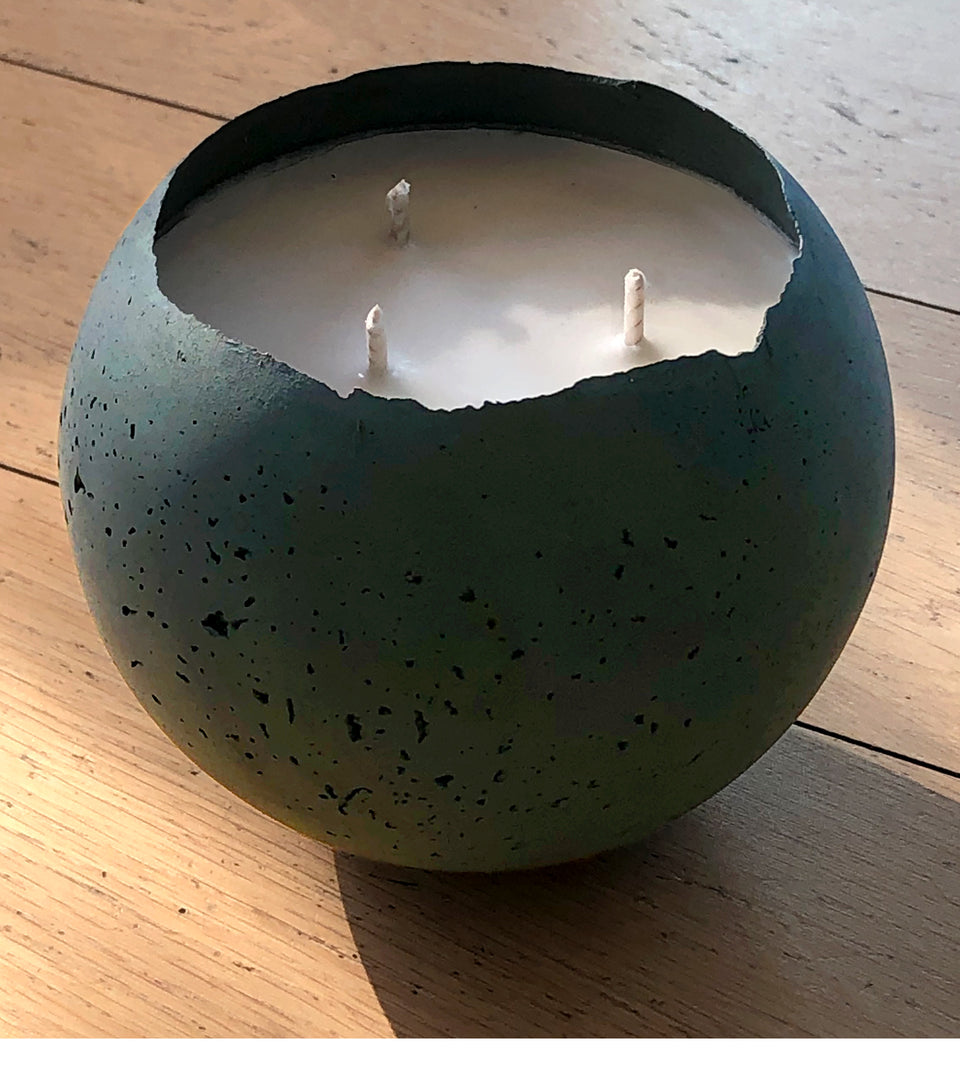 XL Orbis 3-Wick Concrete Candle - Evergreen
