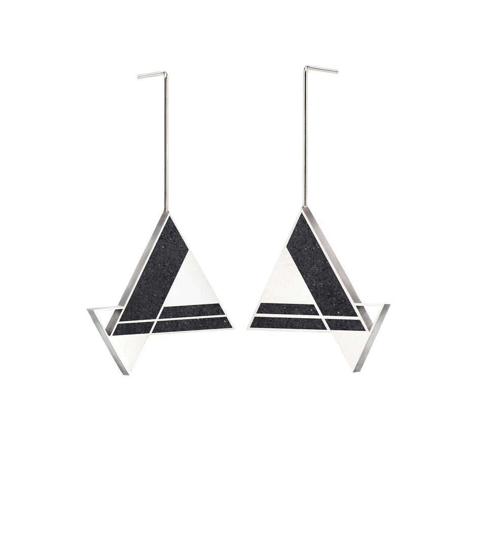 Imperial Hotel - Concrete Earring Triangle Drops