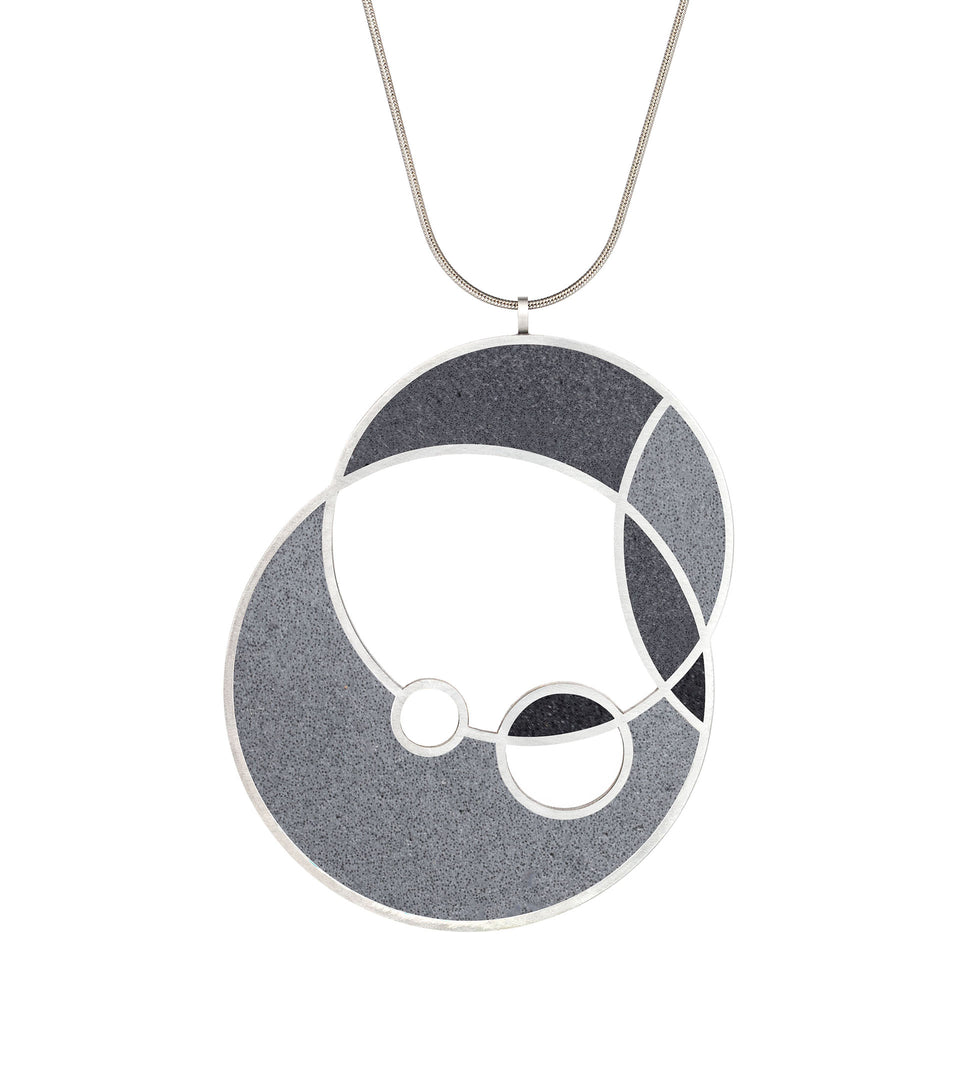 Frank Lloyd Wright concrete necklace in Black colorway.