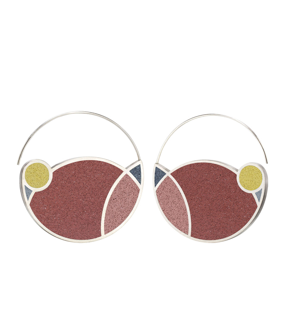 March Balloons - Concrete Hoop Earrings 1