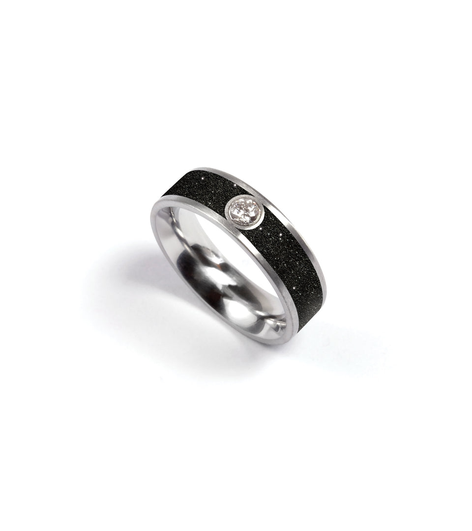KMr155d-dd Diamond & Diamond Dust Concrete Ring