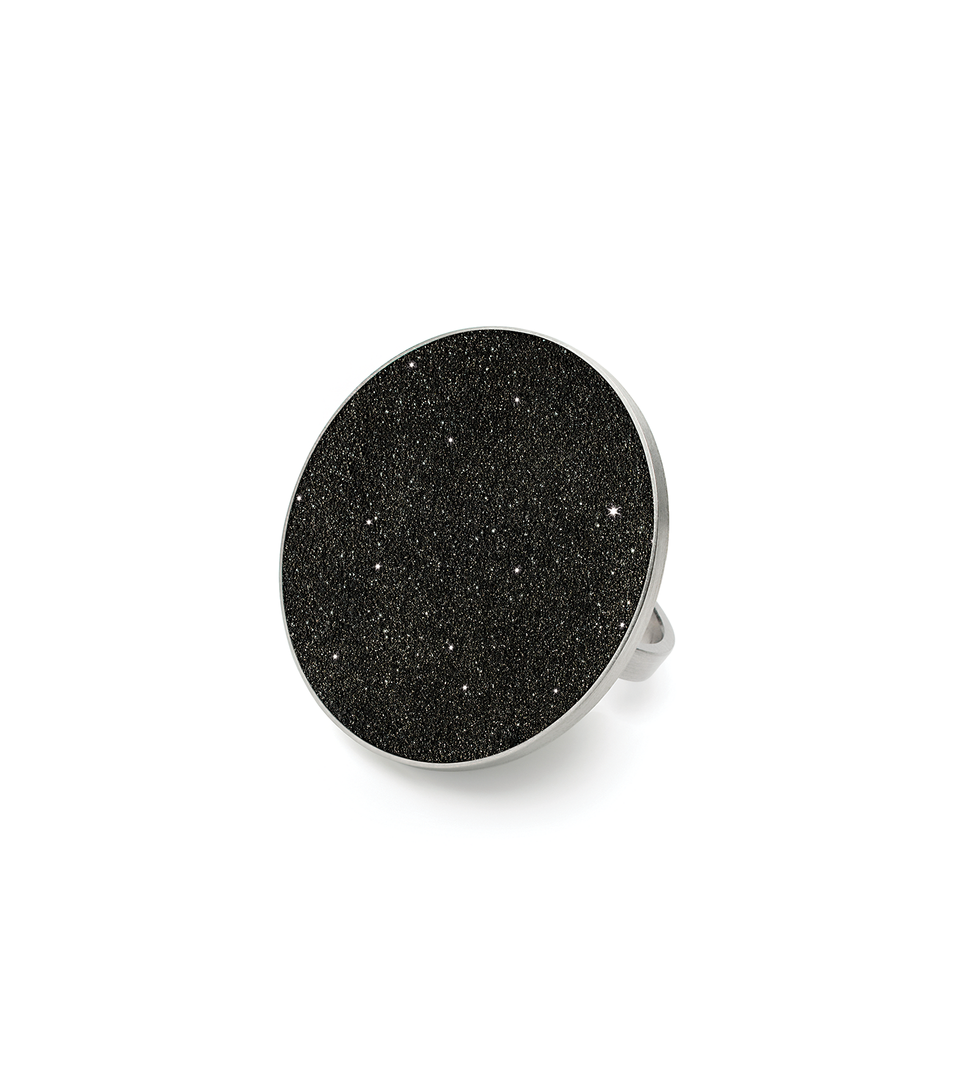 Antares Major concrete and stainless steel statement ring with infused diamond dust that captures the infinite night sky.