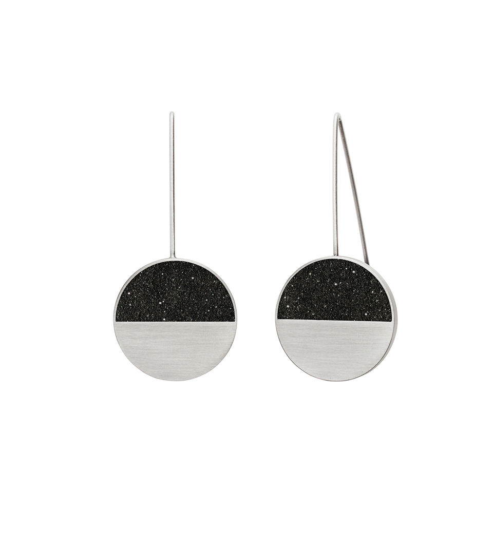 Capella diamond dust infused concrete earrings are balanced within stainless steel minimalist geometric forms.