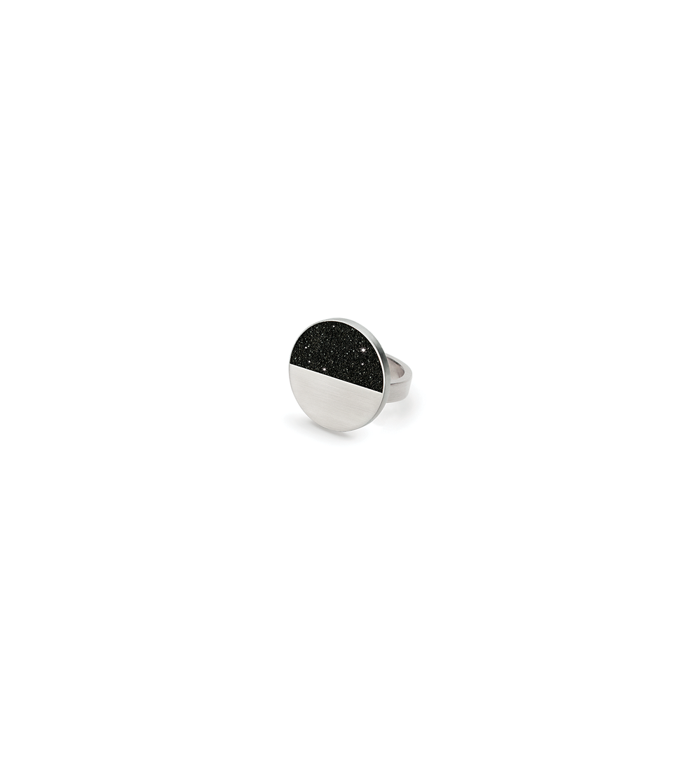Cephei Minor diamond dust infused concrete ring achieves minimalist beauty with modernist jewelry design that echoes architectural principles of balance, rhythm and harmony.