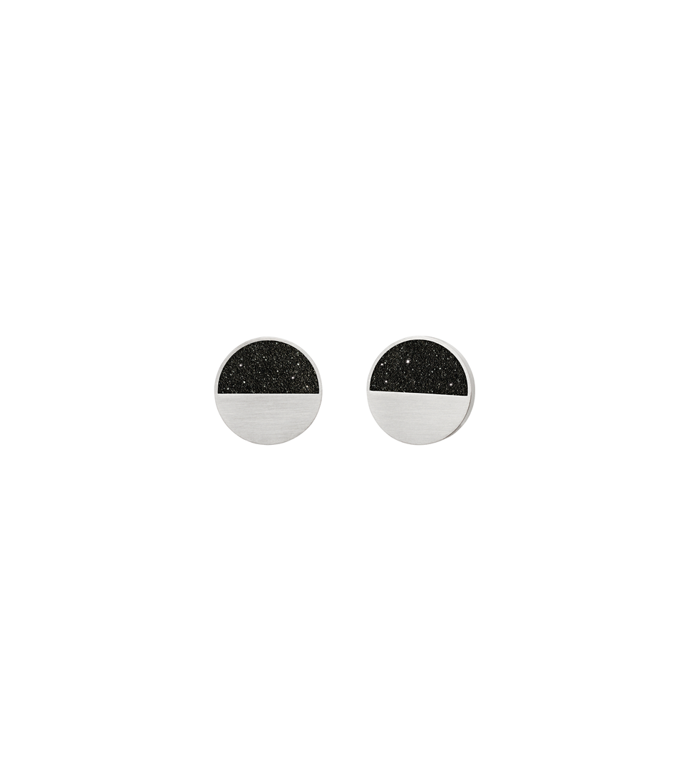 Concrete earring studs are a balance of stainless steel with diamond dust infused black concrete..