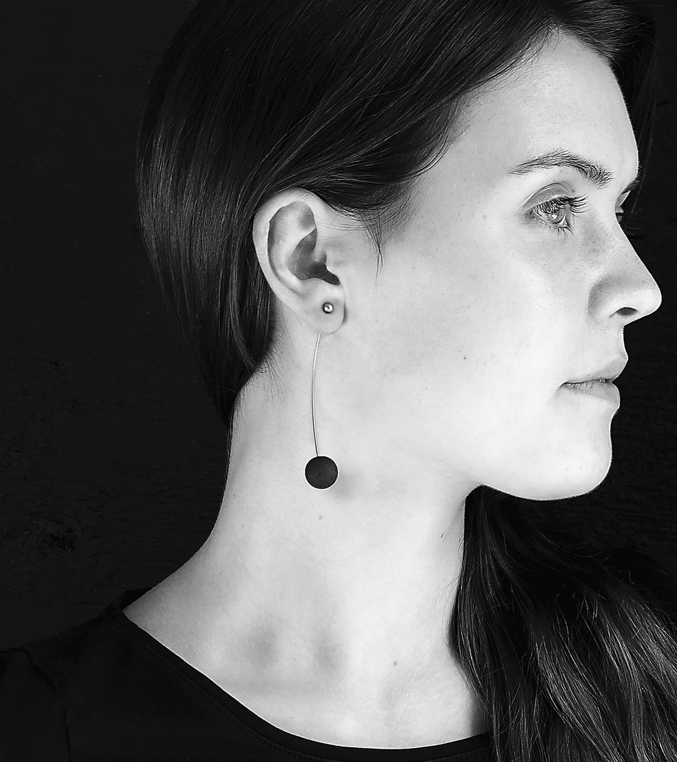 Perseids concrete and stainless steel earrings achieve minimalist beauty with modernist jewelry design that echoes architectural principles of balance, rhythm and harmony.