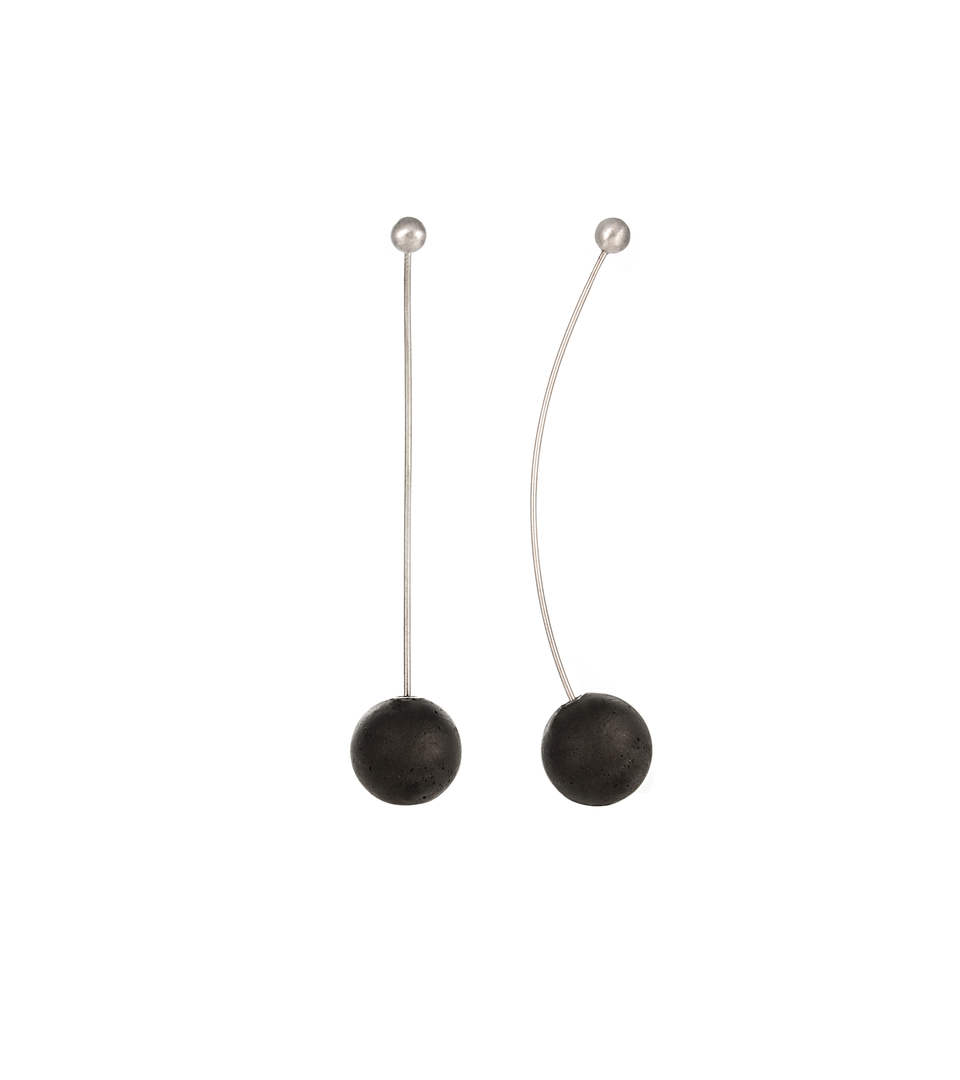 Perseids earrings balance concrete with stainless steel minimalist geometric forms.