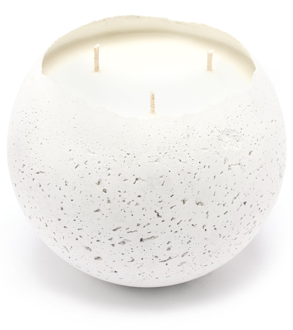 XL Orbis 3-Wick Concrete Candle - White